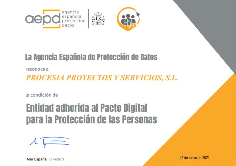 Procesia da un nuevo paso en la protección de datos con la adscripción al pacto digital de la AEPD
